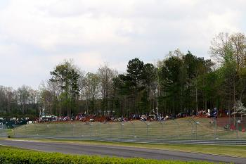 Even on Friday, fans lined the track. (James Fish/The Epoch Times)