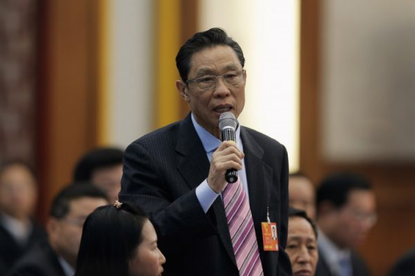 Zhong Nanshan of the Chinese Academy of Engineering speaks during the Guangdong delegation's group meeting during the annual National People's Congress in Beijing. (Lintao Zhang/Getty Images)