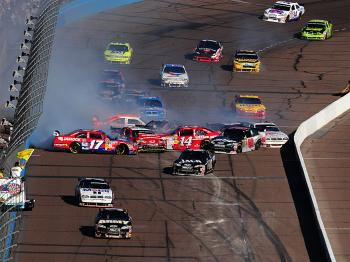 Dale Earnhardt Jr. got sideways on a restart, setting off a ten-car collision. (Robert Laberge/Getty Images for NASCAR)