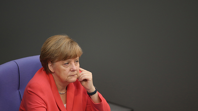 German Chancellor Angela Merkel attends debates prior to a vote over the third EU financial aid package to Greece at an extraordinary session of the German parliament, the Bundestag, on July 17, 2015 in Berlin, Germany. (Sean Gallup/Getty Images)