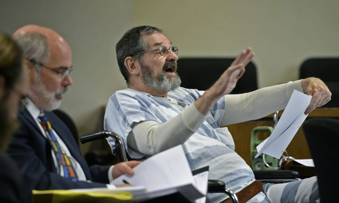 Frazier Glenn Miller Jr. gestures during pre-trial motions for his case at Johnson County District Court on Friday, July 17, 2015, in Olathe, Kan. A judge rejected a series of defense motions Friday in the death penalty case of the white supremacist charged with killing three people last year at two Jewish sites in Kansas. (Tammy Ljungblad/The Kansas City Star via AP)