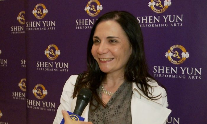 Elizabeth Torres shares her Shen Yun experience after the performance in New York. (Courtesy of NTD Television)