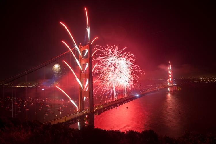 75th Golden Gate Bridge Anniversary fireworks