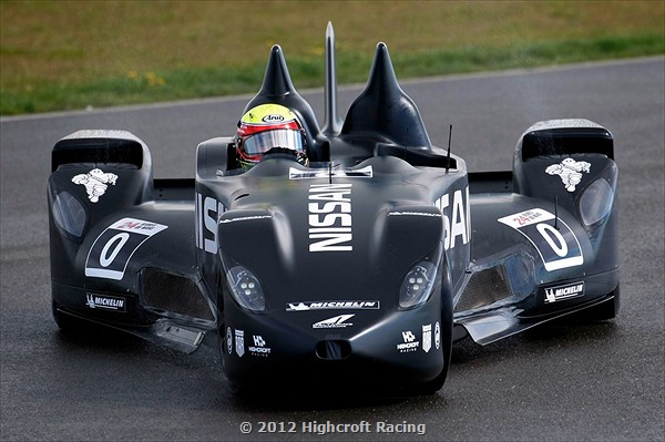 With tiny front wheels, no rear wing, and half the weight and drag of a conventional car, the DeltaWing can achieve equivalent performance with a much smaller engine using less fuel. (Highcroft Racing)