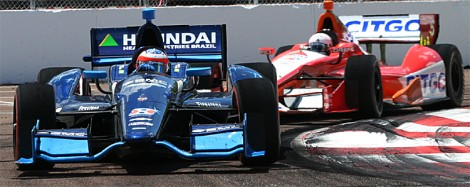 Former F1 star Rubens Barrichello ran out of gas on the last lap while E.J. Viso finished a respectable eighth. (James Fish/The Epoch Times)