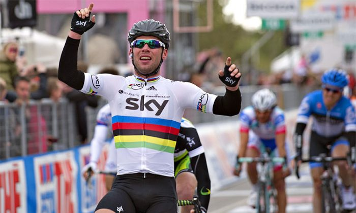 Matthew Goss earned Orica-GreenEdge its first Grand Tour victory in the sprint finish to Stage Three of the Giro d'Itlaia. (greenedgecycling.com)