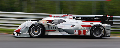 The e-tron quattro hybrid, with part-time all-wheel-drive, was quickest in the wet but understeered in the dry. (Audi Motorsport)