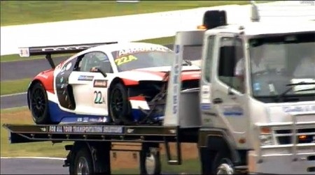 The #22 United Autosports Audi eventually retired due to damage from this crash.  (bathurst12hour.com.au)