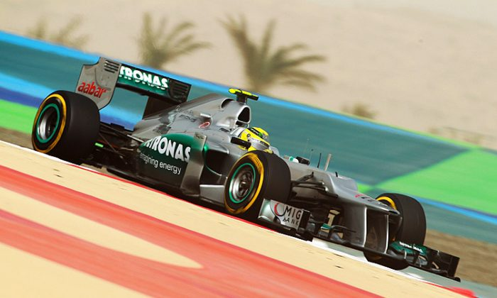Mercedes driver Nico Rosberg drives during practice for the Formula One Bahrain Grand Prix at the Bahrain International Circuit in Sakhir, Bahrain. (Mark Thompson/Getty Images)