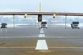The Solar Impulse begins its take-off run. (solarimpulse.com)