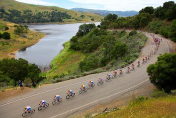The peloton passes the Calaveras Reservoir during Stage Four of the 2010 Amgen Tour of California. (Doug Pensinger/Getty Images)