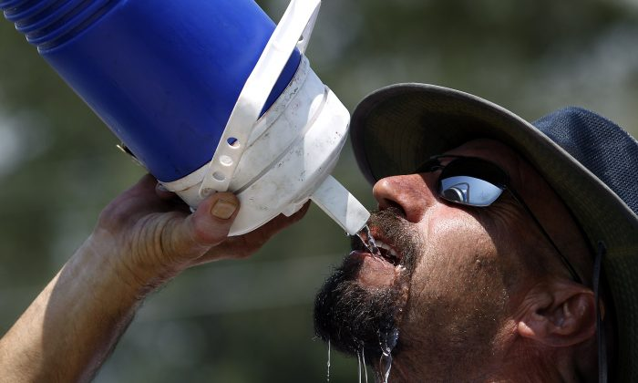 United States Postal Service letter carrier Brian Johnson, 55, takes a break from his 400 house mail route to hydrate with some water. (AP Photo/Ralph Freso)