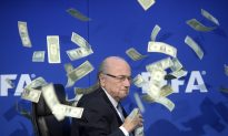 FIFA's Blatter Doused With Money at Press Conference
