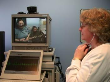 Videoconferencing and a specialized stethoscope allow a healthcare provider at another site to listen to a patient's heart and breathing. (Courtesy of Keewaytinook Okimakanak Telemedicine)