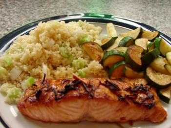 HEALTHY OPTION: Pairing salmon with grains and veggies provides a vitamin-packed meal. (Caroline Yates/The Epoch Times)
