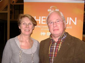 Among audience members was theologian, Greet Heslinga and her husband. (The Epoch Times)
