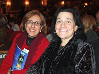 Roberta Esposito, a freelance producing artist and director with friend Kathy Benosso, at the Shen Yun Performing Arts performance at Proctors Theatre in Schenectady, NY. (Sally Sun/The Epoch Times  )