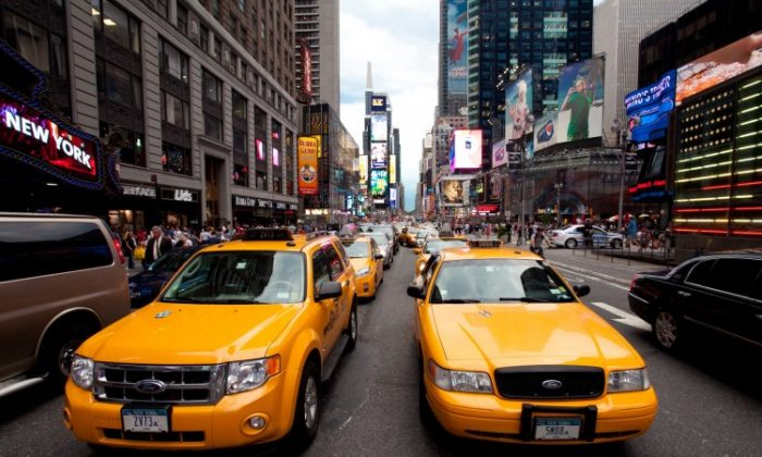 Taxis in Times Square on July 26, 2011. Students of theTaxiTreats team are working to putvending machines in taxis around the world. (Amal Chen/The Epoch Times)