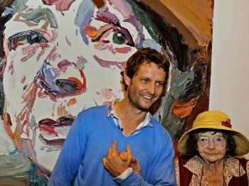 Artist Ben Quilty (C), stands with legendary Australian painter Margaret Olley (R), the subject of Ben's winning portrait entry (at back) in the prestigious Archibald Prize at the Art Gallery of New South Wales, on April 15.  (Greg Wood/AFP/Getty Images)
