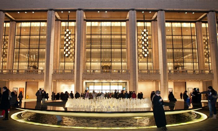People wait around the fountain at Lincoln Center for the opening of Shen Yun on Jan 11. Updating the central fountain has saved the center $1.5 million annually. (Benjamin Chasteen/The Epoch Times)