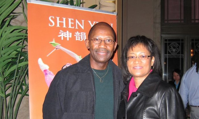 Sylvania McDaniel and fiancé Tina Brooks were among the audience at Shen Yun Performing Arts at the Peabody Opera House, Saturday, Feb. 18. (Valerie Avore/The Epoch Times)