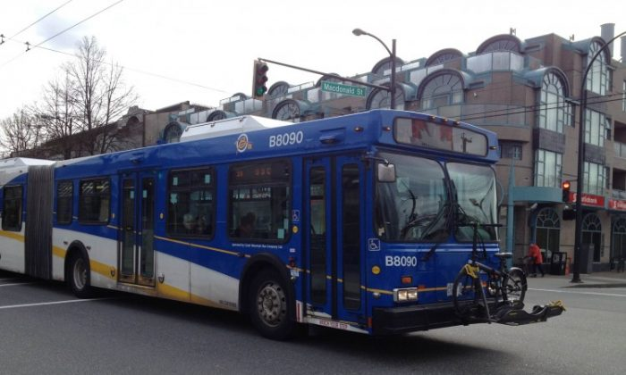 A TransLink bus travels along Broadway at MacDonald in Vancouver. Assaults on bus drivers in Metro Vancouver increased 21 percent in 2011. (Helena Zhu/The Epoch Times)