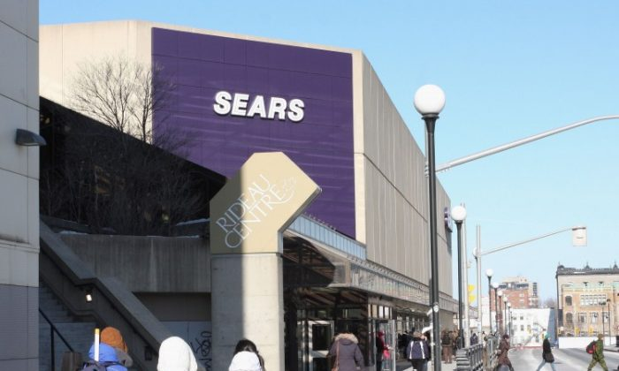 A view of the Sears department store at Rideau Centre in Ottawa. Sears Canada Inc. has announced it plans to close its stores at Ottawa Rideau Centre, Vancouver Pacific Centre, and Calgary Chinook Centre by the end of October. (The Epoch Times)