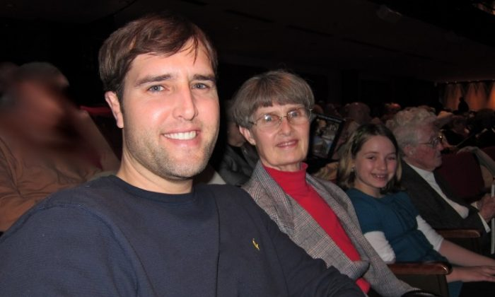 """DeEtte Schmidt """"I brought my mother, myself, my son, and my granddaughter. So, there are four generations of us out here."""" (Valerie Avore/The Epoch Times)"""