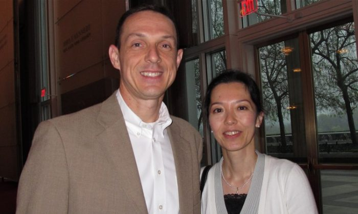 Mr. Clough' and his wife, Akiko, attend Shen Yun Performing Arts in Washington. (Lisa Ou/The Epoch Times)