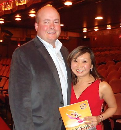Greg Vosberg and Anastacia Clapper at Chicago's Civic Opera House after the Shen Yun performance. (Catherine Wen/The Epoch Times)