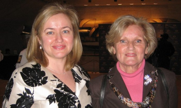 Maribel Becker (L), Senior Director of Ad Operations at MTV Networks, stands for a photograph with her mother, Marliese Becker, a retired pattern maker, in the lobby of the Lincoln Center's David H. Koch Theater on April 19, after seeing Shen Yun Performing Arts. (Joshua Philipp/The Epoch Times)