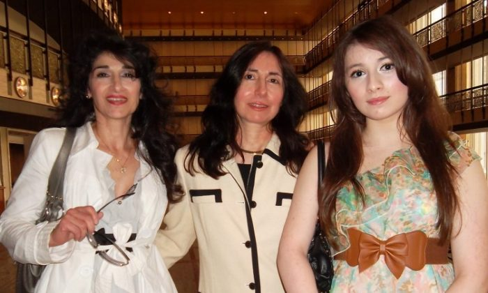 Vivian Wong (R), a singer, and her two aunts after seeing Shen Yun Performing Arts on Saturday afternoon at Lincoln Center. (Alec Wang/The Epoch Times)