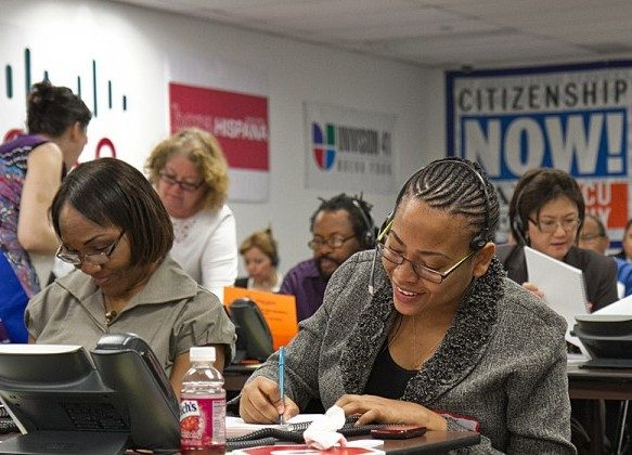 "Phones are manned by 48 volunteers, providing information for people who have questions about their U.S. immigration status or other immigrant information at the 10th annual ""Citizenship Now!"" call center on Monday in Manhattan. (Benjamin Chasteen/The Epoch Times)"
