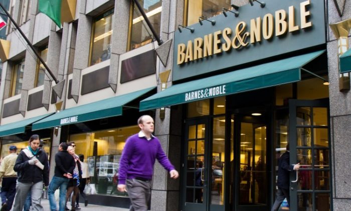 Pedestrians walk past a Barnes & Noble on Fifth Avenue in New York City on April 30. (Benjamin Chasteen/The Epoch Times)