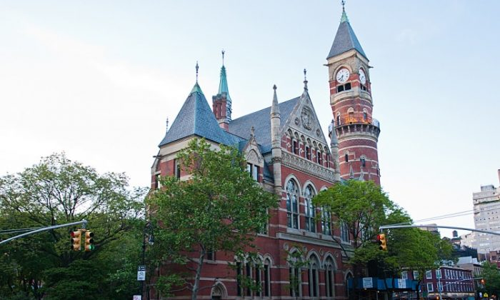 The Jefferson Market Library in Greenwich Village on May 1. The building from 1877 served initially as a courthouse and is one of the 40 historical sites taking part this month in a vote for preservation grants. (Christian Watjen/The Epoch Times)