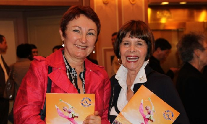Nadine Novak, (L) a designer, and Barbara Friedman, a photographer, enjoyed Shen Yun in Philadelphia, May 9. (Shar Adams/The Epoch Times)