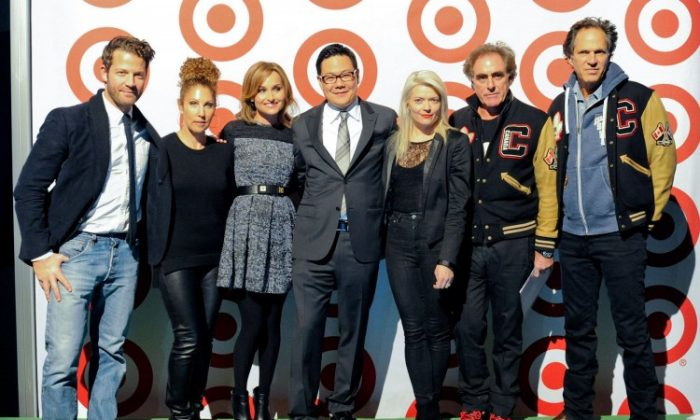 At a media event in Toronto announcing Target's slate of brands for its Canadian stores, senior VP of merchandising John Morioka (C) was joined by Target's exclusive designer partners (L-R) Nate Berkus, Sonia Kashuk, Giada De Laurentiis, Kate Young, Michael Budman, and Don Green. (Target)