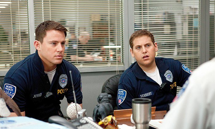 "Channing Tatum and Jonah Hill (R) in the action-comedy ""21 Jump Street,"" a film about an underachieving police duo sent to a high school to bring down a synthetic drug ring. (Scott Garfield/ Columbia TriStar Marketing Group, Inc.)"