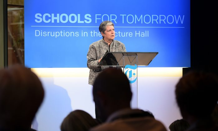 Janet Napolitano, president of the University of California speaks onstage at The New York Times 2014 Schools For Tomorrow Conference at TheTimesCenter on September 9, 2014 in New York City.  (Photo by Michael Loccisano/Getty Images for The New York Times)