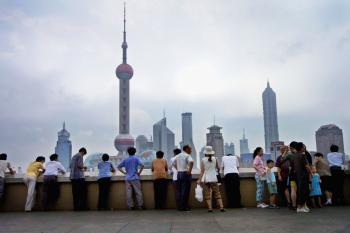 Shanghai boasts a vast skyline of more than 4,500 towers, but the glamor hides many human rights abuses according to a new German report.  (Natalie Behring-Chisholm/Getty Images)