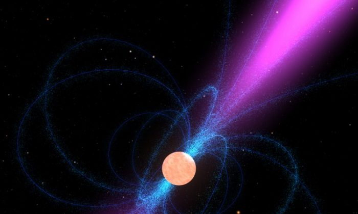 A still from a pulsar animation. Astronomers are using pulsars to test Einstein's theory of relativity. (NASA)