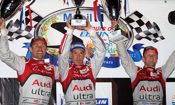 Joey Hand, Dirk Mueller, and John Summerton drove the #56 BMW M3 to its second consecutive Sebring win. (James Fish/The Epoch Times)