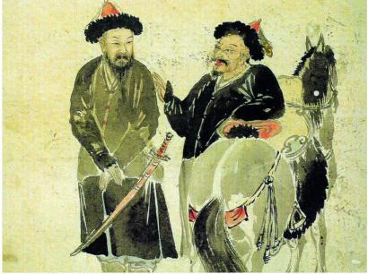 A Korean painting from 18th century depicting two Jurchen warriors and their horses. (CC BY, Kim Yun-gyeom 1711 ~ 1775)