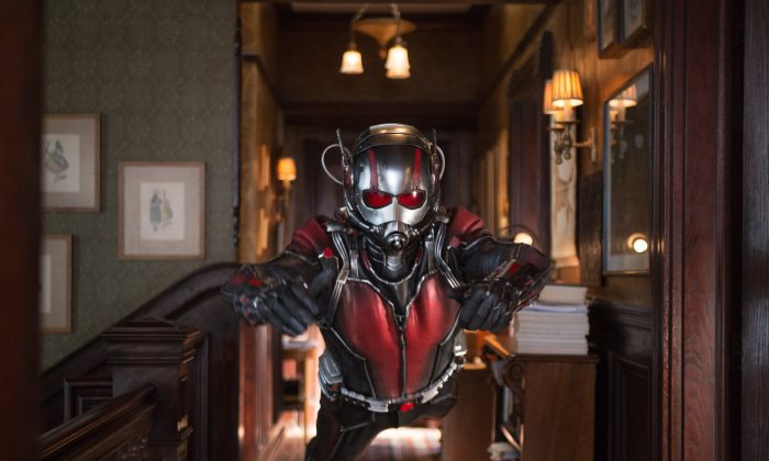 """This photo provided by Disney shows Paul Rudd as Scott Lang/Ant-Man in a scene from Marvel's """"Ant-Man."""" (Zade Rosenthal/Disney/Marvel via AP)"""