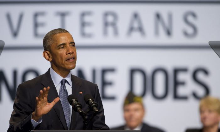 U.S. President Barack Obama during the 116th National Convention of the Veterans of Foreign Wars (VFW) at the David Lawrence Convention Center in Pittsburgh, Pennsylvania, on July 21, 2015. (Jeff Swensen/Getty Images)