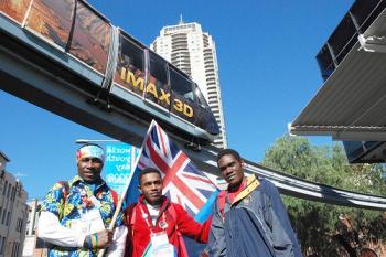 Fiji pilgrims in Sydney's China Town.  (Sonya Bryskine/The Epoch Times)