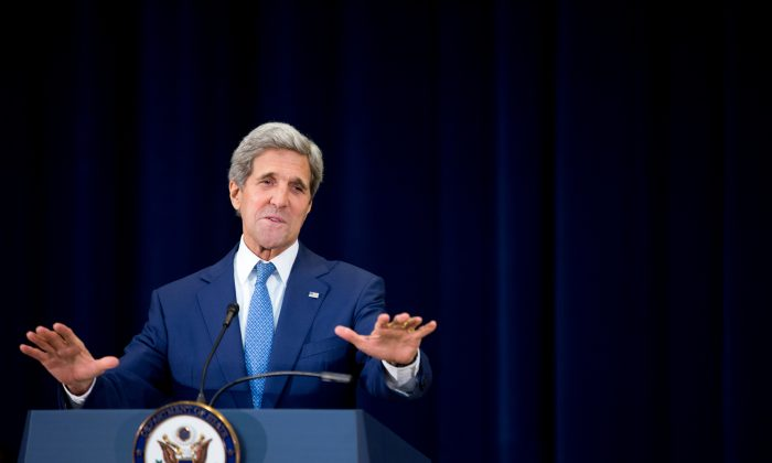 Secretary of State John Kerry during a news conference at the State Department in Washington on Monday, July 27, 2015, on the 2015 Trafficking in Persons Report. (AP Photo/Andrew Harnik)