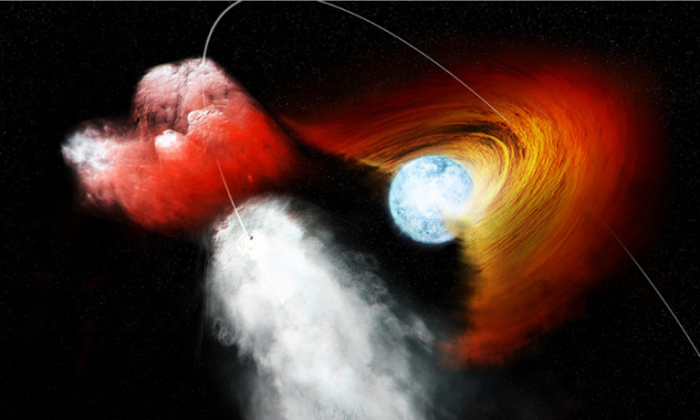 """""""As the pulsar moved through the disk, it appears that it punched a clump of material out and flung it away into space,"""" says George Pavlov. (NASA/CXC/M.Weiss)"""