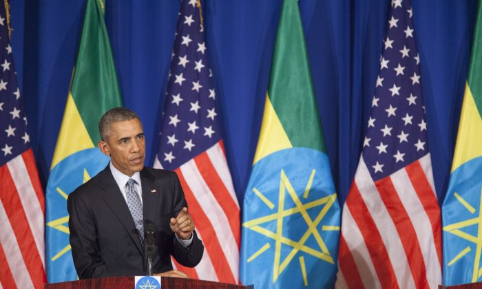 US President Barack Obama gestures during a joint press conference with Prime Minister of Ethiopia Hailemariam Desalegn in Addis Ababa on July 27, 2015. (Zacharias Abubeker/AFP/Getty Images)