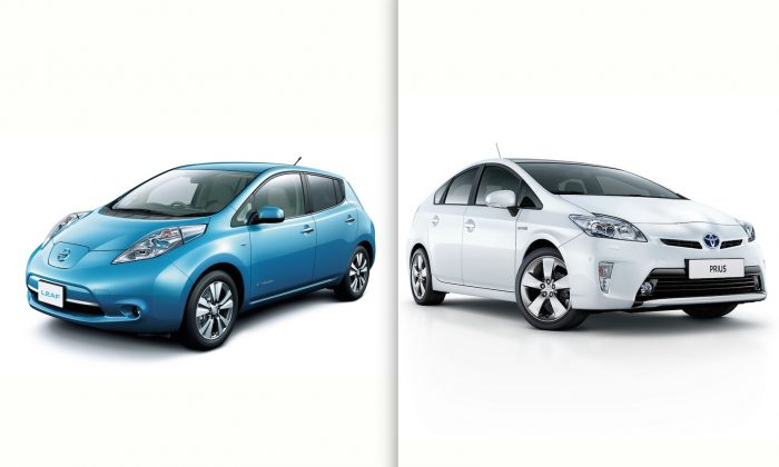 The Nissan Leaf and Toyota Prius.  (Courtesy of Nissan USA & Toyota Motor Europe)